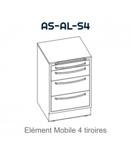 Element mobile avec 4 tiroirs