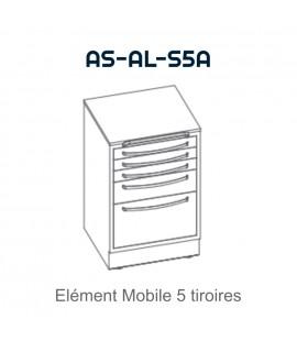 Element mobile avec 5 tiroirs