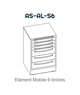 Element mobile avec 6 tiroirs